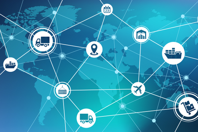 Global economy supply chain icons on world map