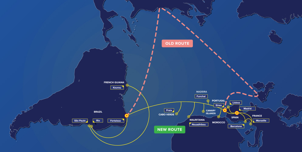 Map of EllaLink Old and New Subsea Routes
