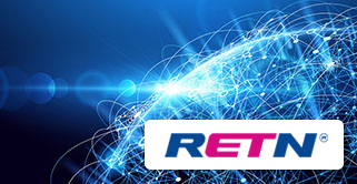RETN logo with global connections as background