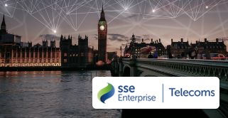 SSE enterprise and telecoms logo with London as the background