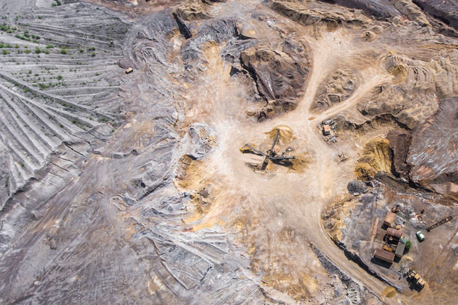 arial shot of mining plant
